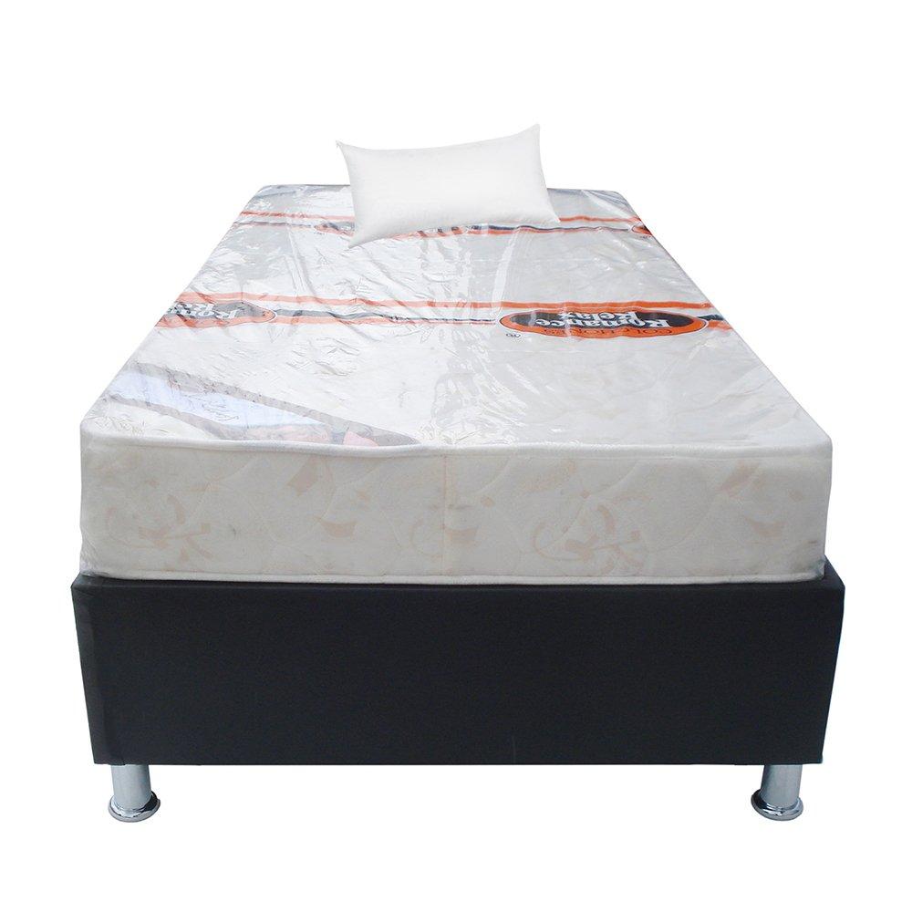 Cama sencilla base cama colch n ramguiflex almohada negro for Colchon cama sencilla
