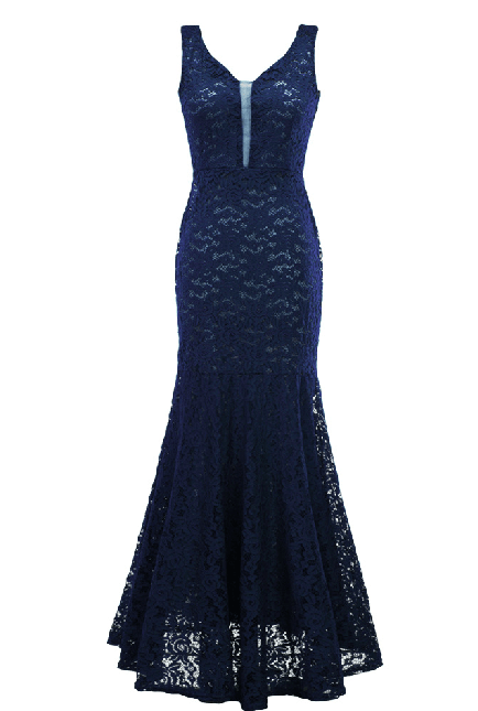 Vestido longo azul marinho de festa
