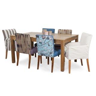 Juego de Comedor p/6 personas. Mesa en paraíso + 4 sillas + 2 Sillones  Eleonor