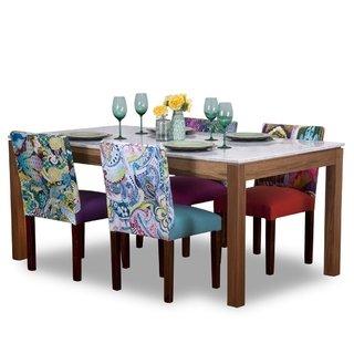 Juego Comedor p/6 Personas. Mesa mármol Carrara + 6 sillas