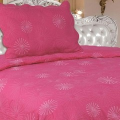 Quilt Decoraciones Integrales Bordado Twin Size Color Rosa Chicle