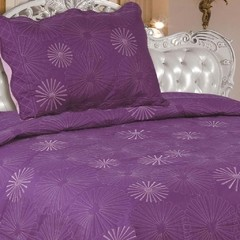 Quilt Decoraciones Integrales Bordado Twin Size Color Violeta