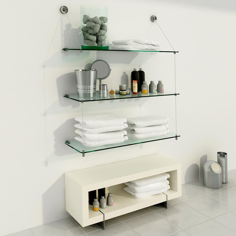 Estanter a de vidrio con estantes de 80cm x 25cm for Banos con repisas de vidrio