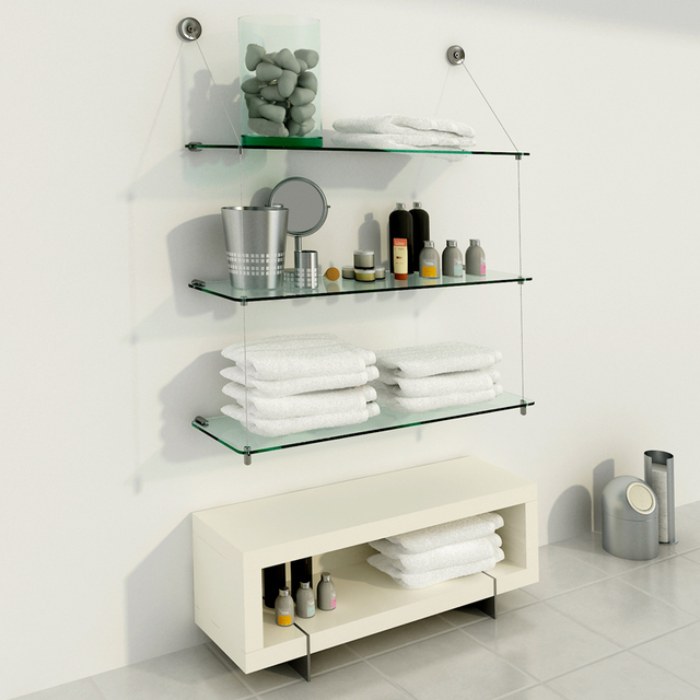 Estanter a de vidrio con estantes de 80cm x 25cm for Estantes vidrio bano