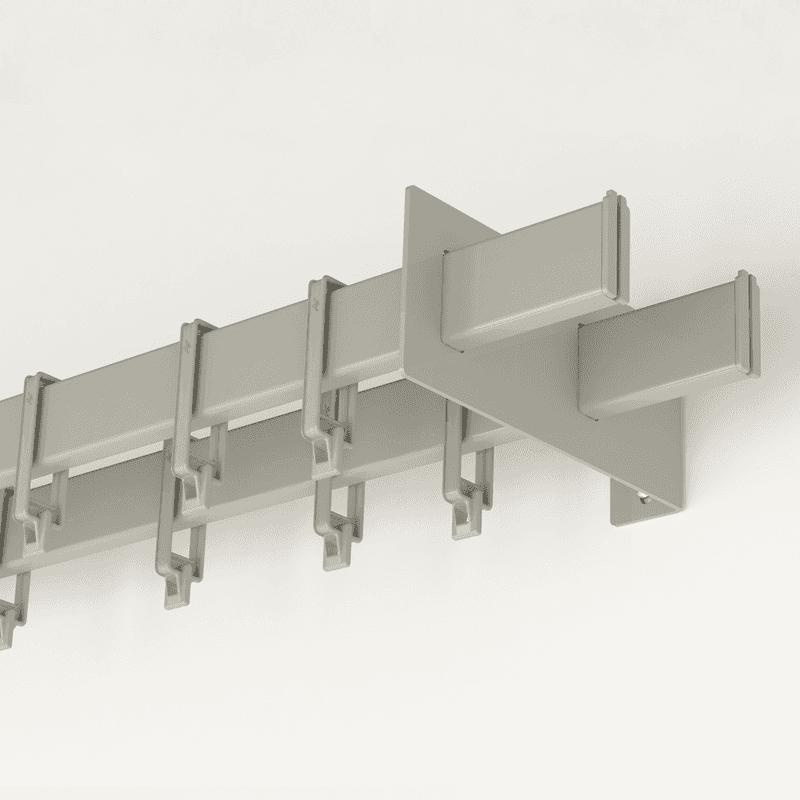Barral de cortina rectangular doble de 2 5mts con 50 ganchitos - Soporte doble cortina ...