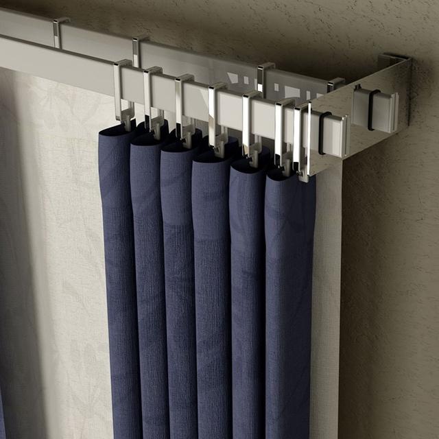 Barral rectangular doble con soportes cromados de 3mts con - Soportes para cortinas ...