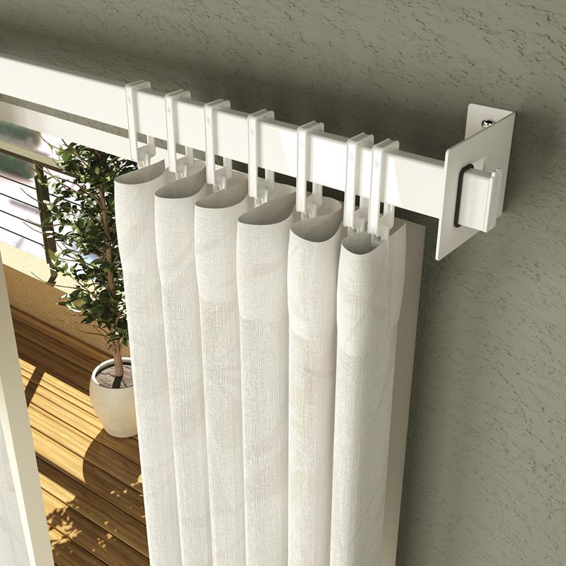 Barral de cortina rectangular de 2mts con 20 ganchitos for Ganchos para colgar cortinas