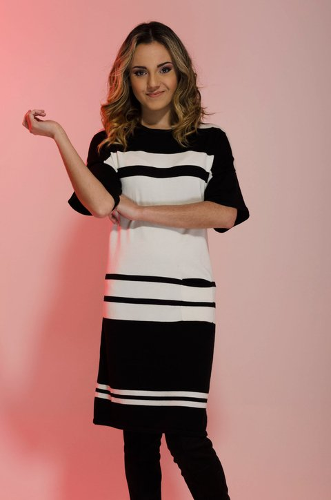 Vestido Black and White  V12210