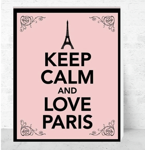 Cuadro Decorativo (50 x 70 cm.) Keep Calm and Love Paris