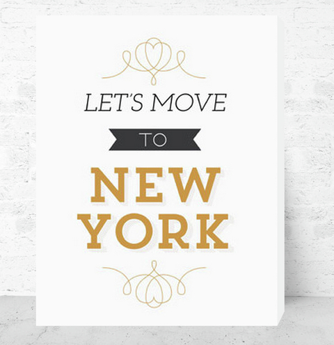 Cuadro Decorativo (50 x 70 cm.) Let´s Move to New York