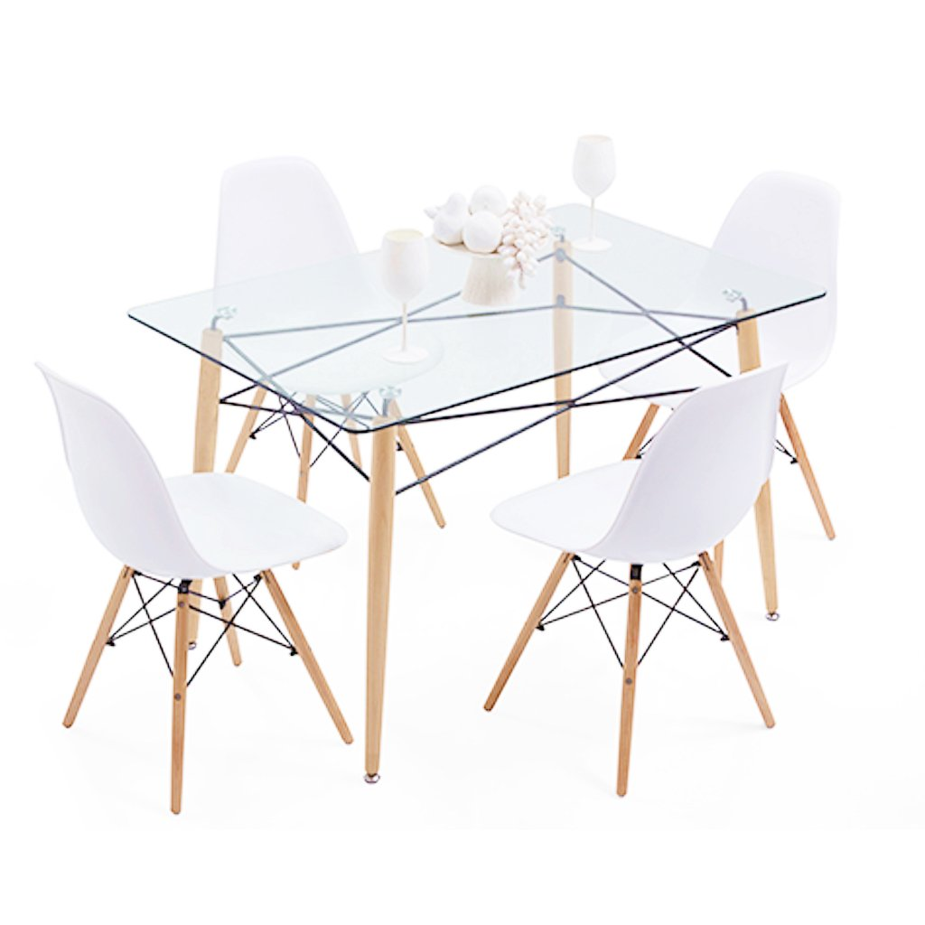 Juego de comedor eames 4 sillas dsw 1 mesa vidrio - Mesa de comedor cristal ...