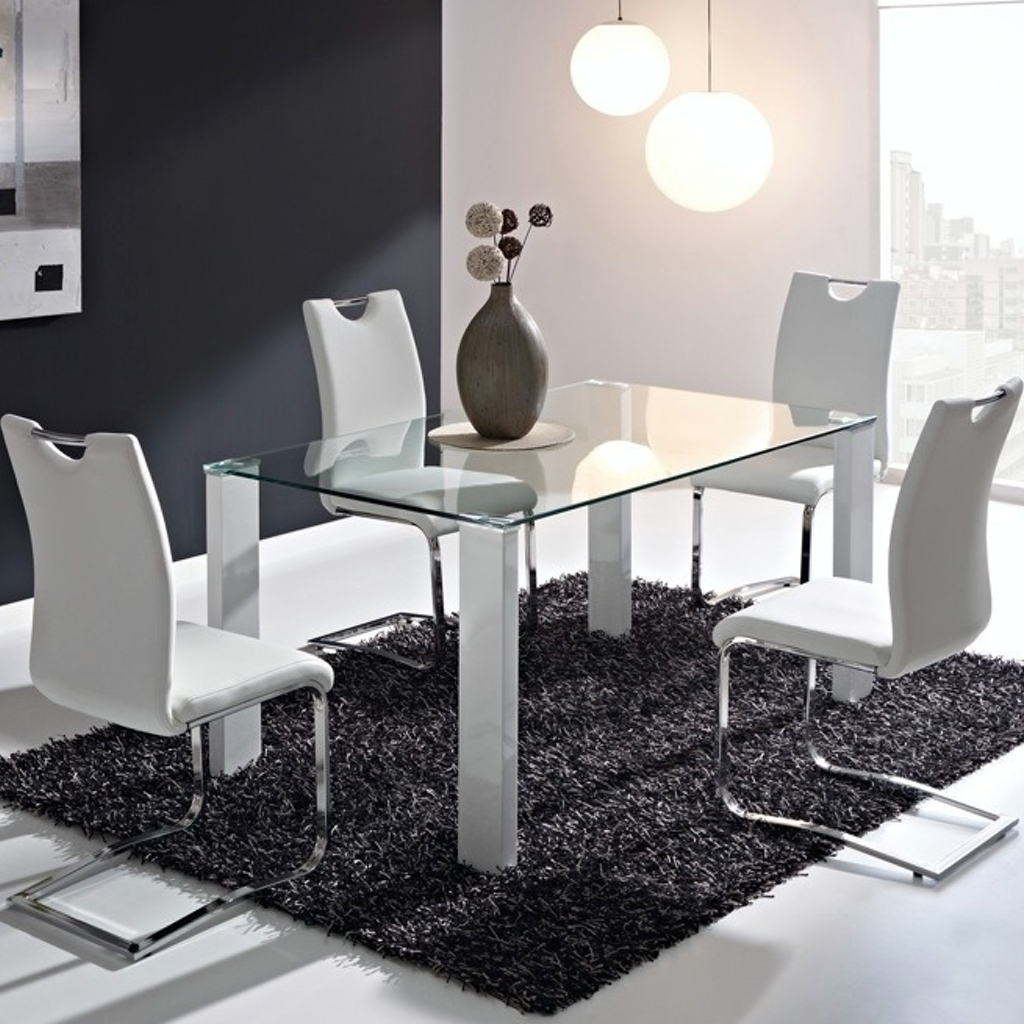 Mesa de comedor vidrio cromada 1 50 x 0 90 mt - Vidrios para mesas de comedor ...