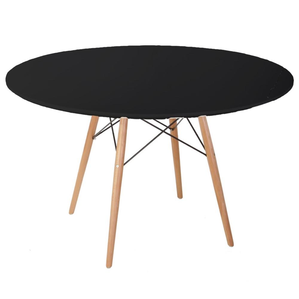 Mesa comedor eames madera laqueada negra 1 20 diam mt for Mesa comedor negra