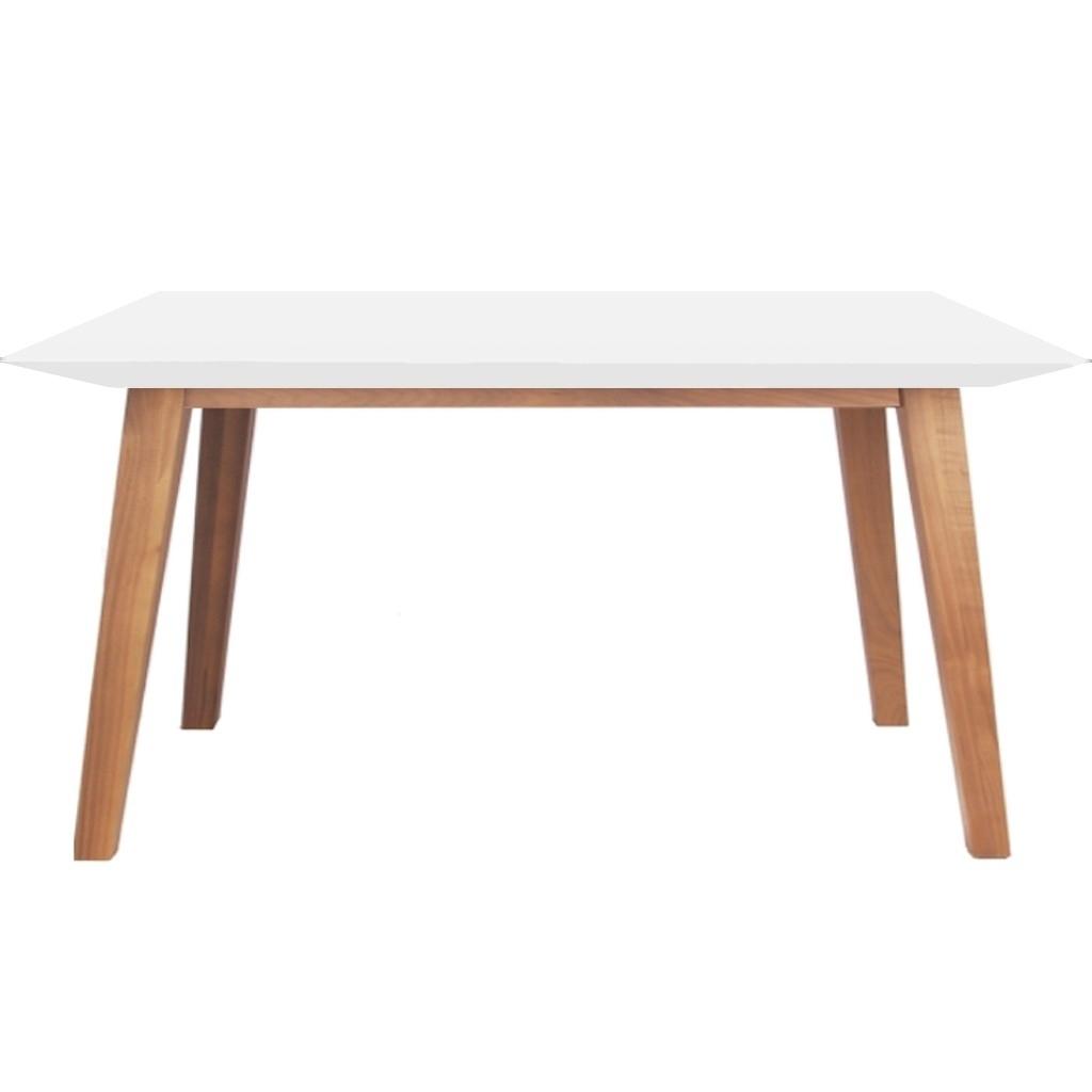 Mesa comedor madera kiev lustre natural laqueada blanca - Mesa comedor madera ...