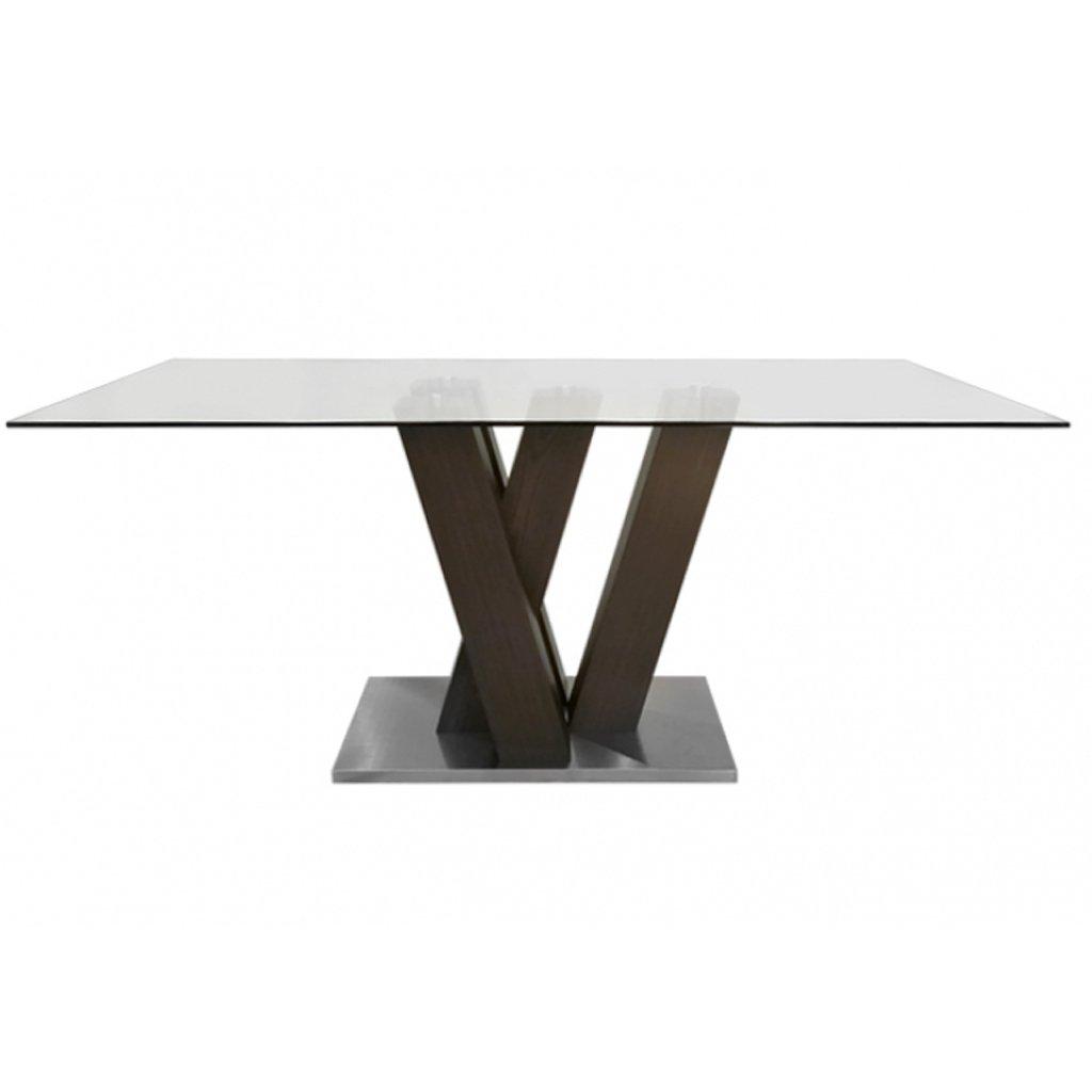 Mesa de comedor vidrio base madera w 1 80 x 0 95 mts - Mesa comedor vidrio ...