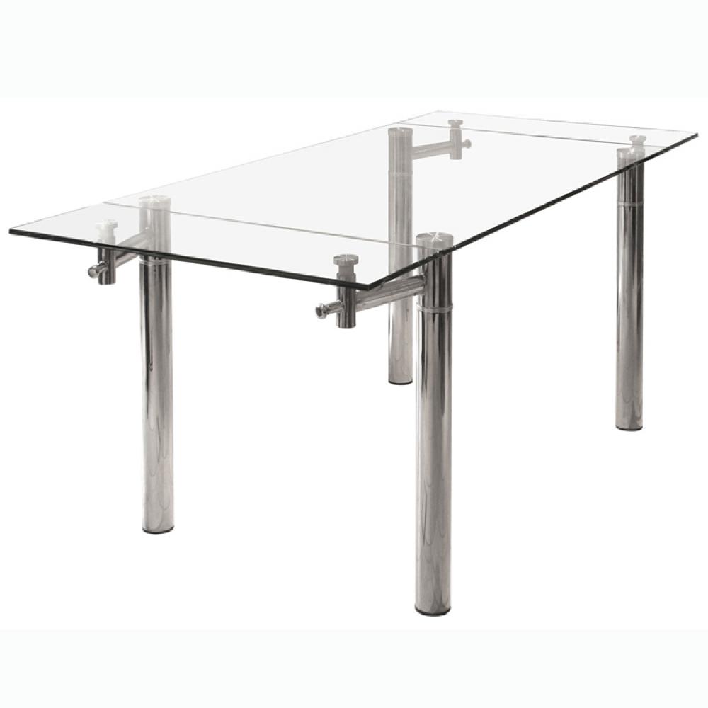 Mesa de comedor extensible vidrio cromada 1 30 a 1 80 x - Mesa comedor vidrio ...