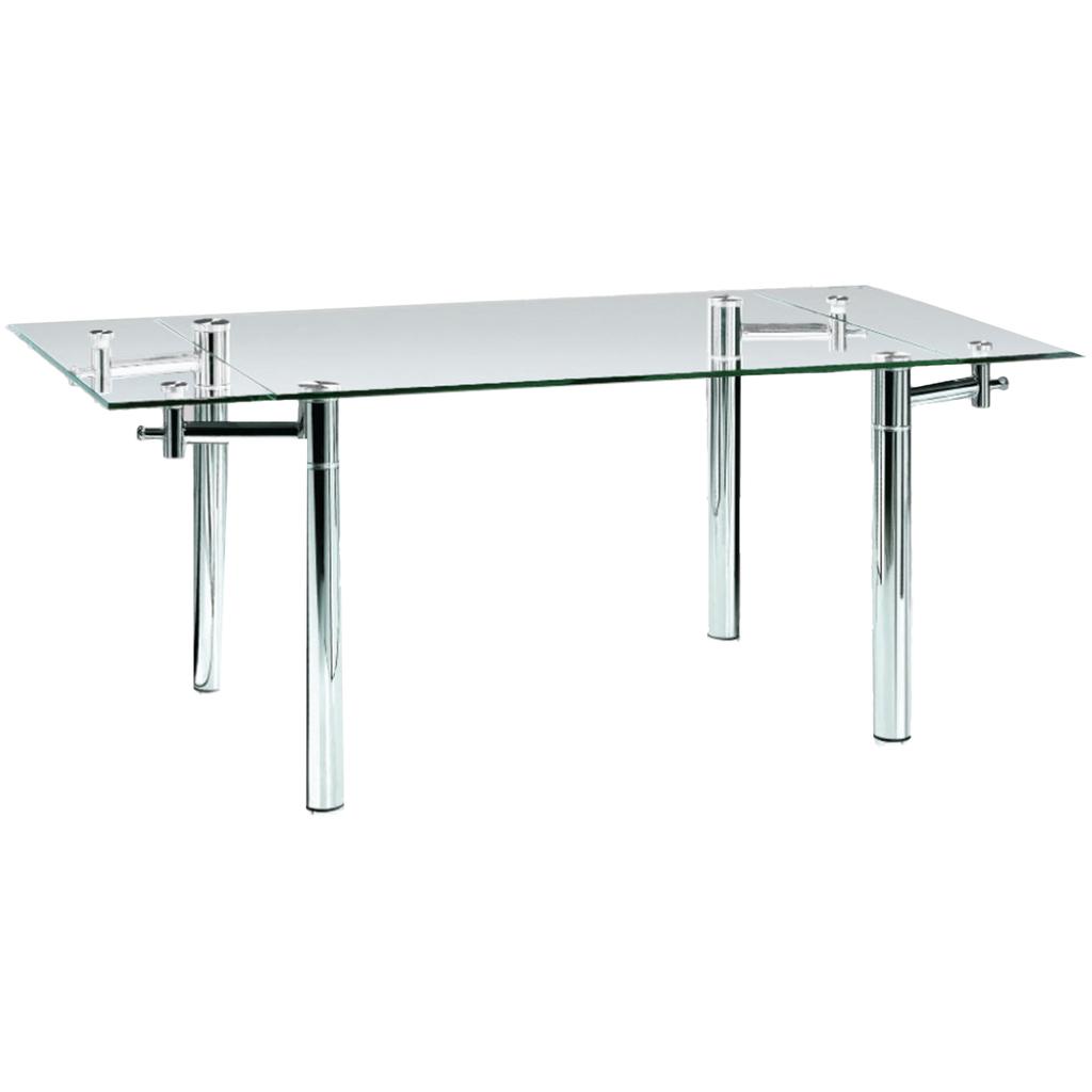 Mesa de comedor extensible vidrio cromada 1 30 a 1 80 x - Vidrios para mesas de comedor ...
