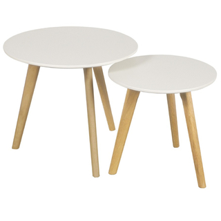 Mesa Stockholm Set x 2 Unidades (Tapa Laqueada Blanca / Base Madera Natural)   (copia)