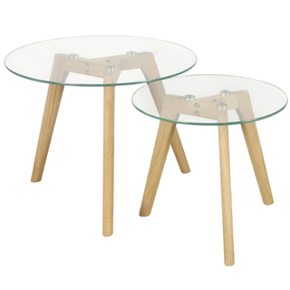 Mesa Stockholm Set x 2 Unidades (Tapa Vidrio / Base Madera Natural)