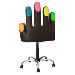 Silla Negra Con Uñas Multicolor - Base Cromada - Bellas Manos
