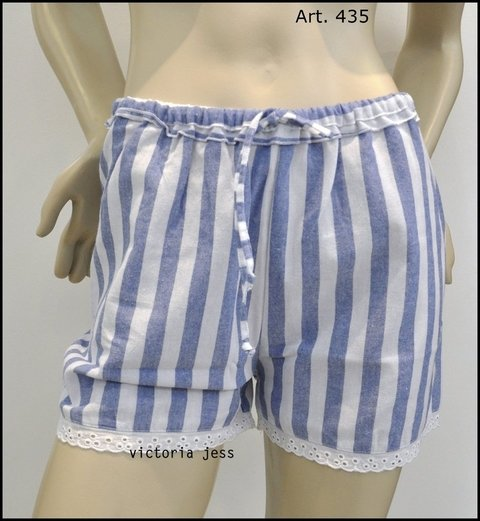 STRIPE LINEN SHORT