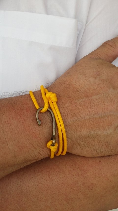Pulseira Anzol Vibe Vintage Rope Amarelo