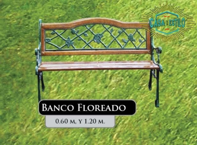 Banco floreado fundicion de hierro casa con estilo for Juego de jardin fundicion aluminio