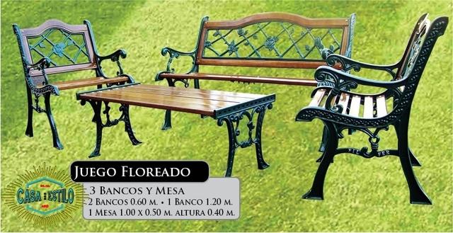 Juego floreado fundicion hierro casa con estilo for Juegos de jardin de hierro