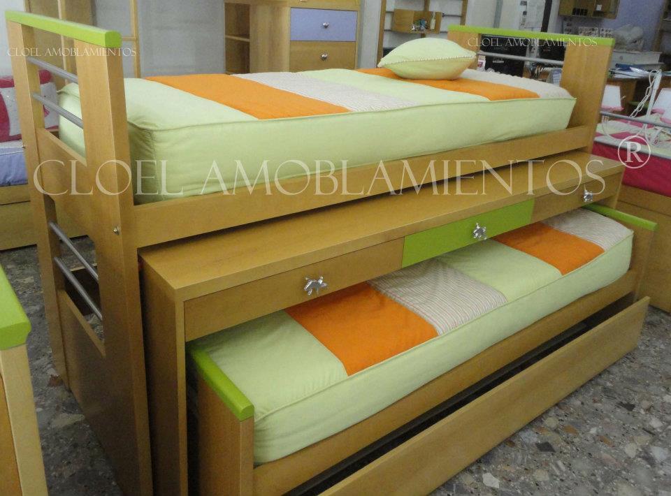 Cama nido triple con escritorio linea madera for Camas nido triples precios