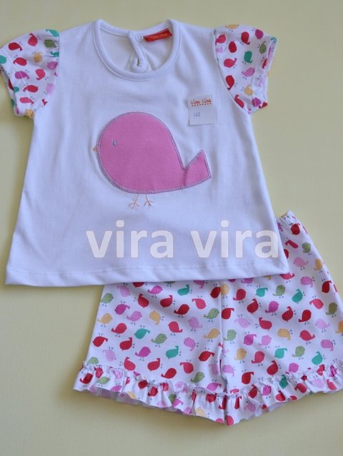 REMERA BORDADA Y SHORT ESTAMPADO ART. 860