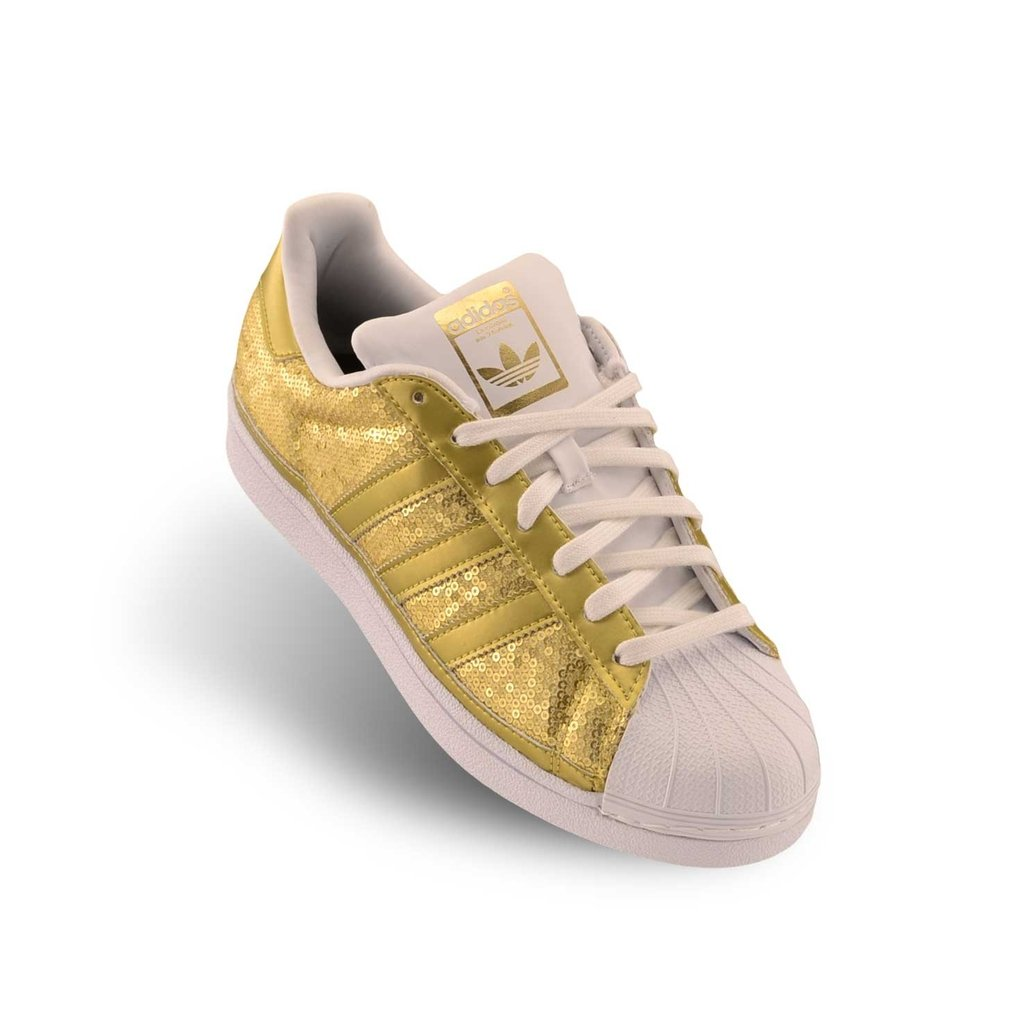 adidas blancas doradas