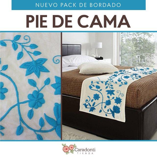 Pack de bordado de pie de cama turquesa - Pie de cama ...