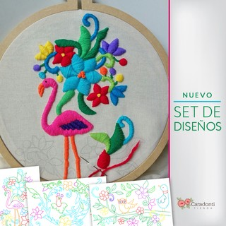 PROMO Tutorial-ON LINE-bordado Mexicano + Kit de 3 bocetos - Tienda Caradonti