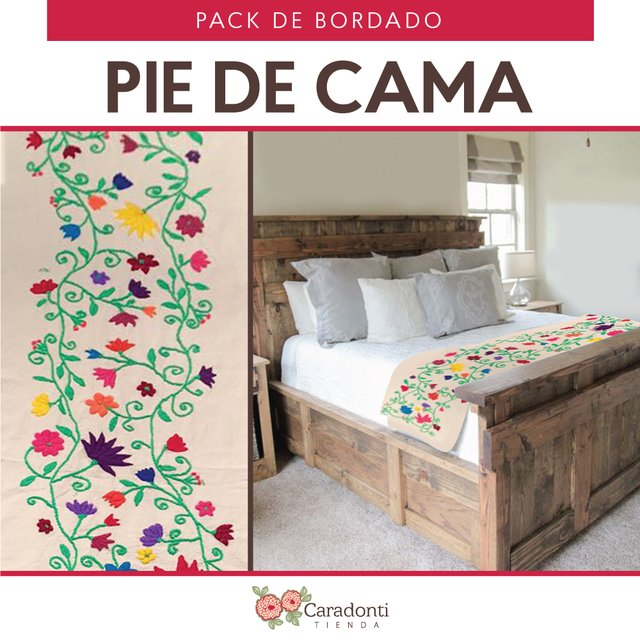 Pack de bordado mexicano pie de cama - Pie de cama ...