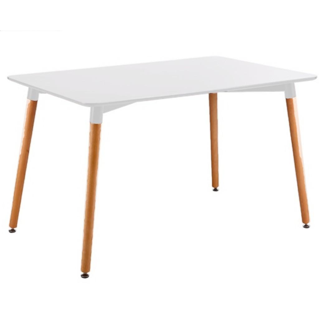 Mesa comedor escandinava laca blanca pata madera 1 20x80 for Mesas de comedor madera blanca