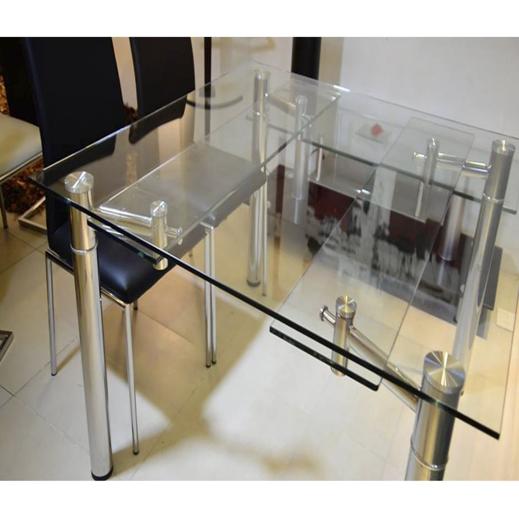 Mesa comedor extensible cuadrada 1 26x1 26 a 1 76 vidrio - Mesas de vidrio templado ...