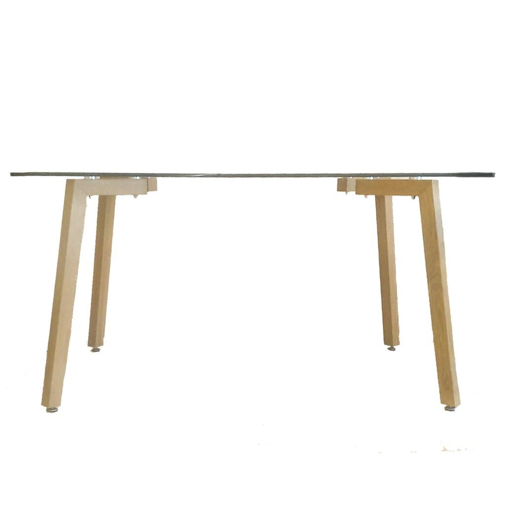 Mesa de comedor escandinava de vidrio 4 patas simil madera - Patas de mesa de madera ...