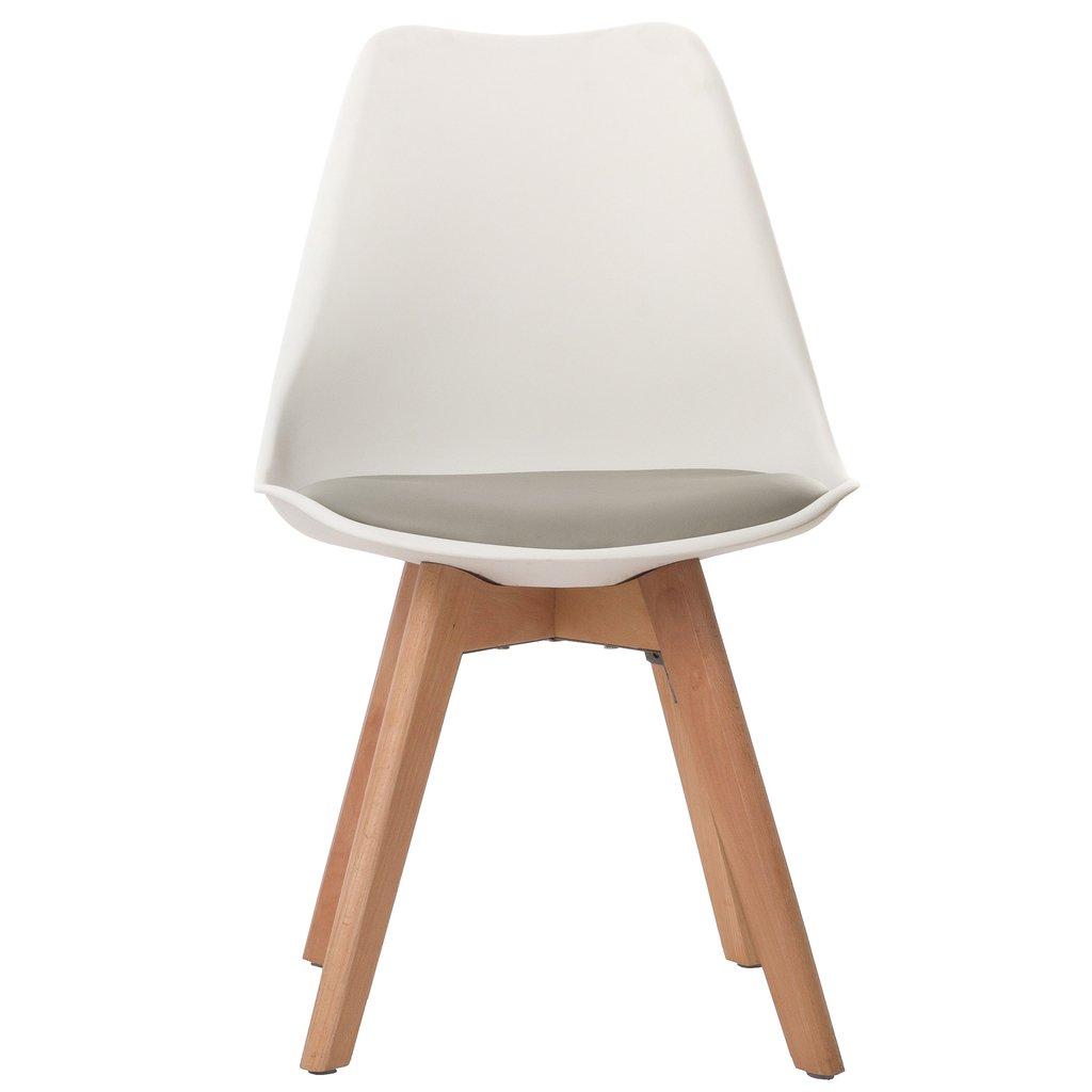 Silla tulip pata madera asiento blanco almohad n gris for Silla blanca patas madera