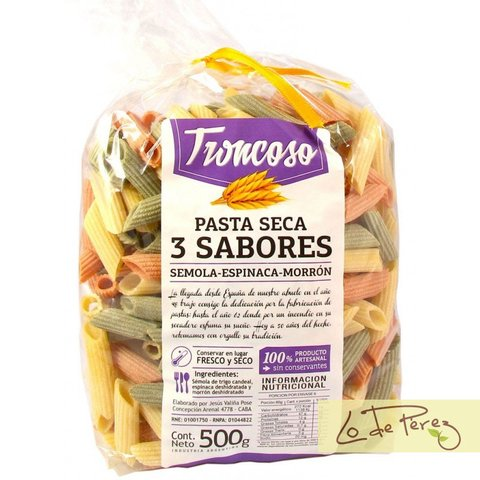 Fideos Penne Rigate 3 sabores Troncoso
