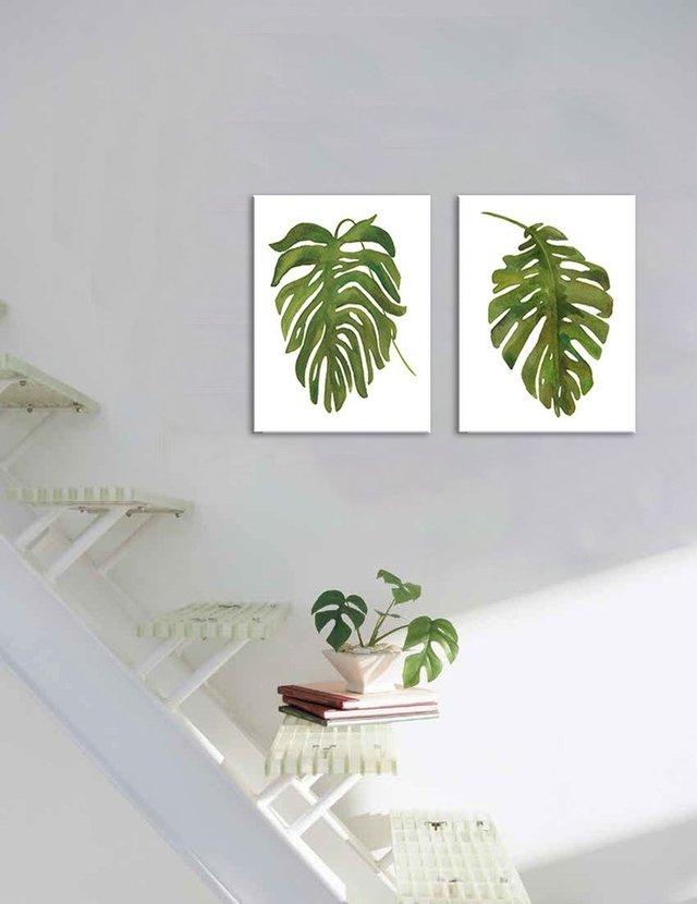 Hoja Palmera Tropical - Cuadro enmarcado o de lienzo / tela