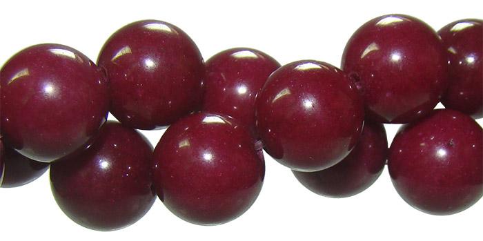 Fio de jade Rubi com Esferas de 12mm
