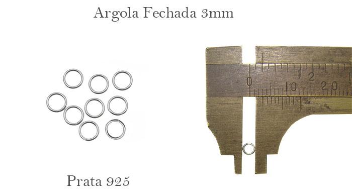 argola fechada de prata 925 3mm
