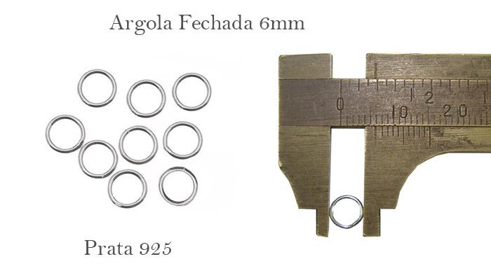 argolas em prata 925 fechada de 6mm