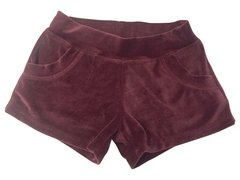 Burgundy Plush Shorts