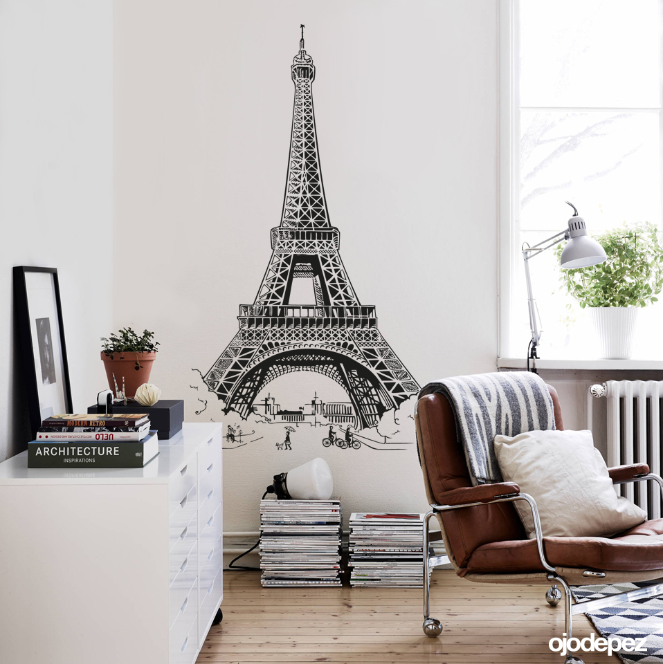 Home 052 torre eiffel for Vinilos decorativos adhesivos pared