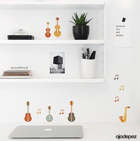 Pack 068 instrumentos musicales - Vinilos decorativos musicales ...