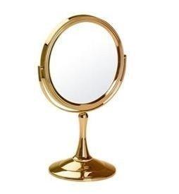 Espejo aumento 10x ba o mesada reversible dorado for Espejo dorado bano