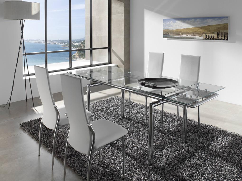 Juego de comedor mesa extensible a 2m 6 sillas viena for Mesa cristal 4 personas