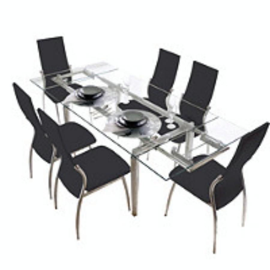 Juego de comedor mesa extensible a 2m 6 sillas viena negras for Sillas negras comedor