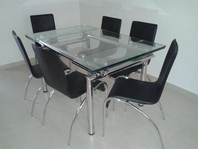 Juego de comedor mesa extensible a 2m 6 sillas kebek - Como hacer una mesa extensible ...